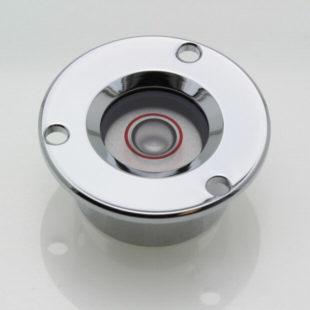 CGF25 – Flush mount circular level, Ø25mm, chrome, glass vial