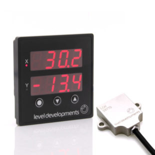 PDTS-LCH-45-02 – Dual Axis ±45° LCH Inclinometer with Panel Mount Tilt Switch Display and 10m cable