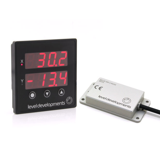 Dual axis inclinometer with digital display