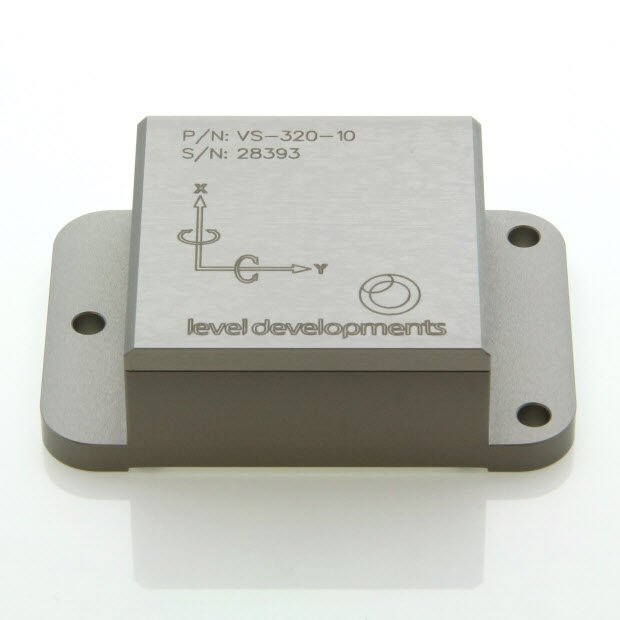 VS-05-C-2-5 – Inclinometer, 2 axis, ±5°, RS232 & 0-10V out, M9 connector