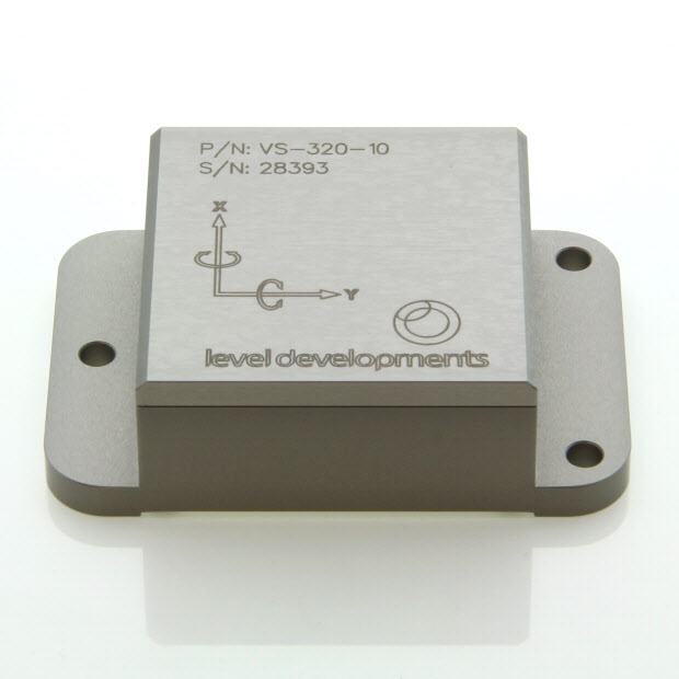 VS-15-C-1-3 – Inclinometer, 2 axis, ±15°, RS232 & 0-5V out, M9 connector