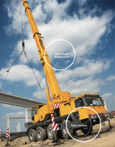 Inclinometers for base levelling and boom angle measurement | Construction and agricultural inclinometer sensors